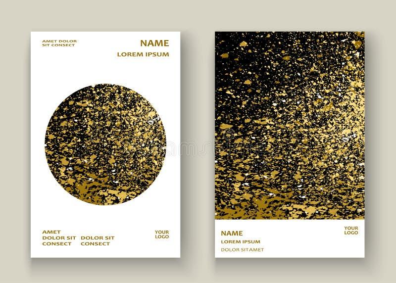 Conception artistique de cadre de couverture d'or d'explosion d'éclaboussure au néon de peinture illustration de vecteur