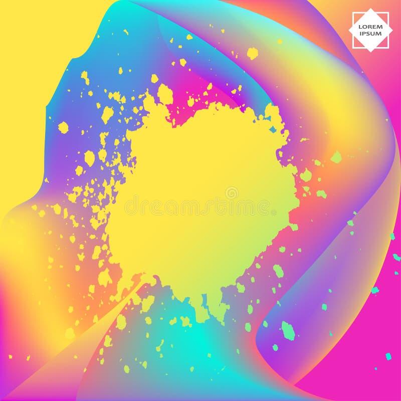 Conception artistique de calibre d'éclaboussure liquide au néon de peinture Éclaboussure colorée de texture d'explosion d'encre d illustration libre de droits