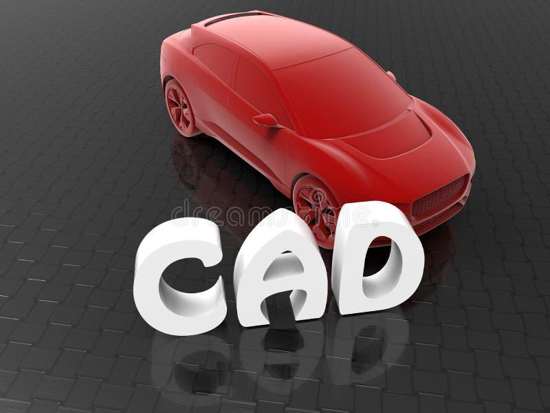 Conception assistée par ordinateur - concept de construction de voiture illustration de vecteur