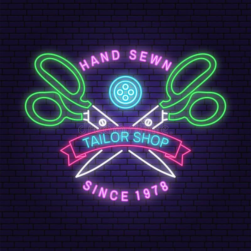 Conception au néon ou emblème de magasin de tailleur Vecteur Conception de typographie avec la silhouette de ciseaux pour des aff illustration libre de droits
