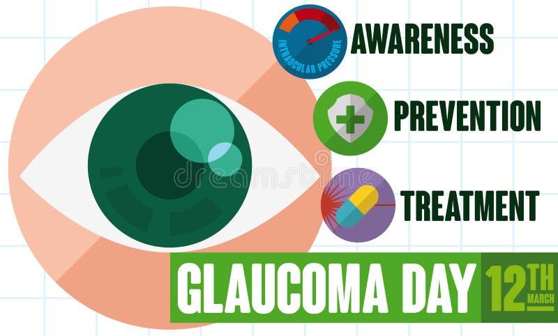 Conception avec du conseil utile pour commémorer le jour de glaucome du monde, illustration de vecteur illustration libre de droits