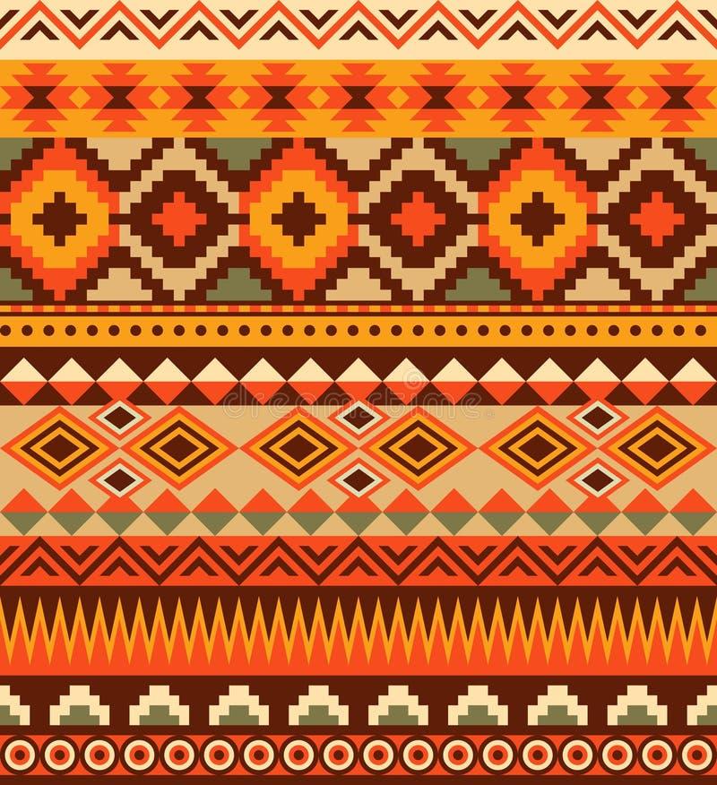Conception aztèque ethnique sans couture de modèle illustration stock