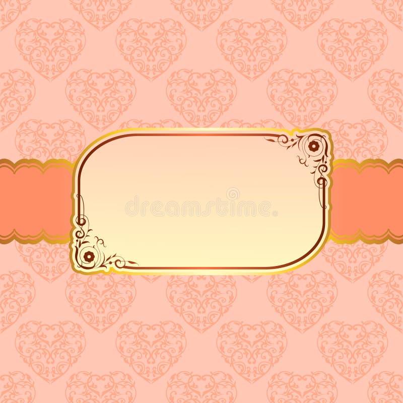 Conception beige élégante de cadre pour la carte de voeux illustration de vecteur