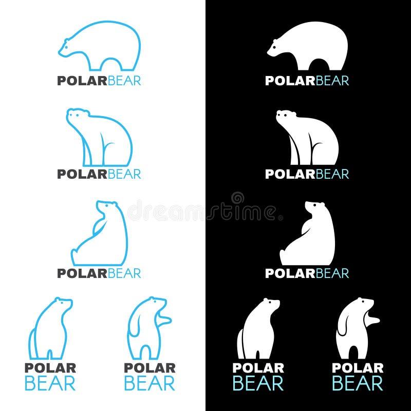 Conception blanche bleue de vecteur de logo d'ours blanc illustration libre de droits