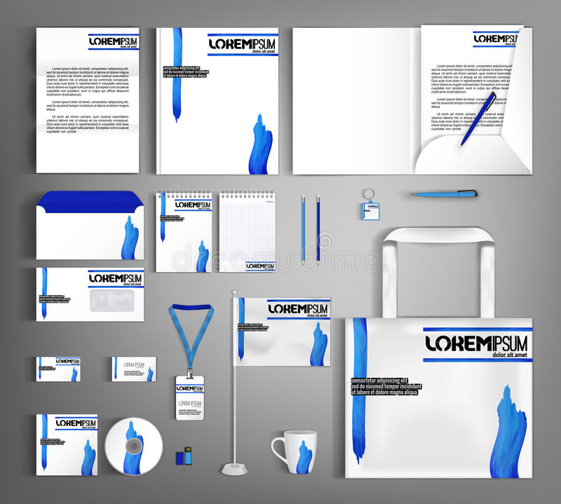 Conception blanche de calibre d'identité d'entreprise avec les taches onduleuses bleues B illustration libre de droits