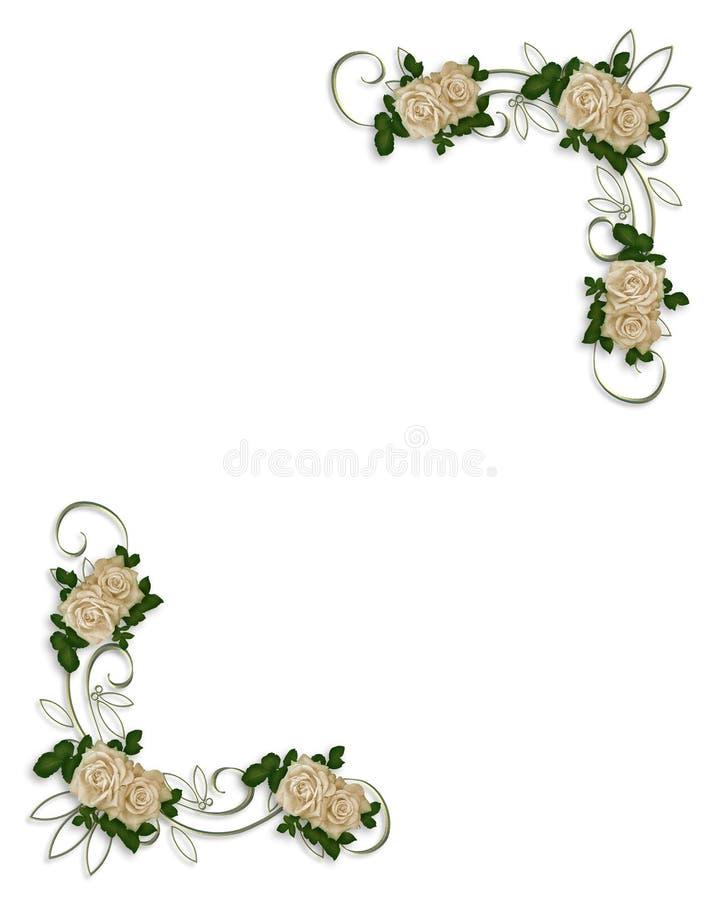Conception blanche de coin de roses illustration libre de droits