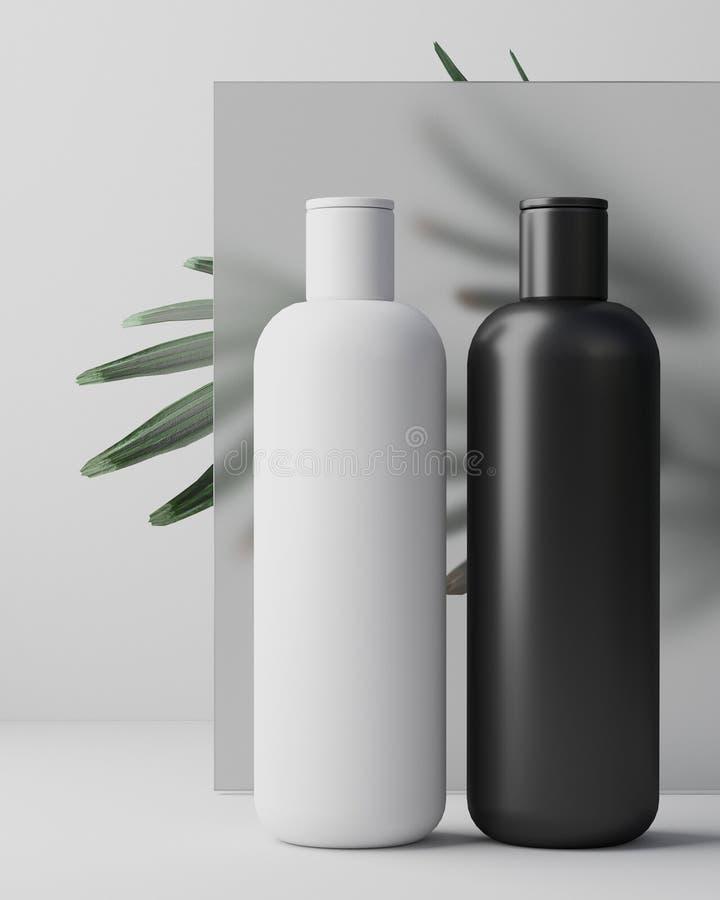 Conception blanche de crème cosmétique naturelle, sérum, emballage de bouteille de blanc de soins de la peau avec l'herbe de feui photo stock