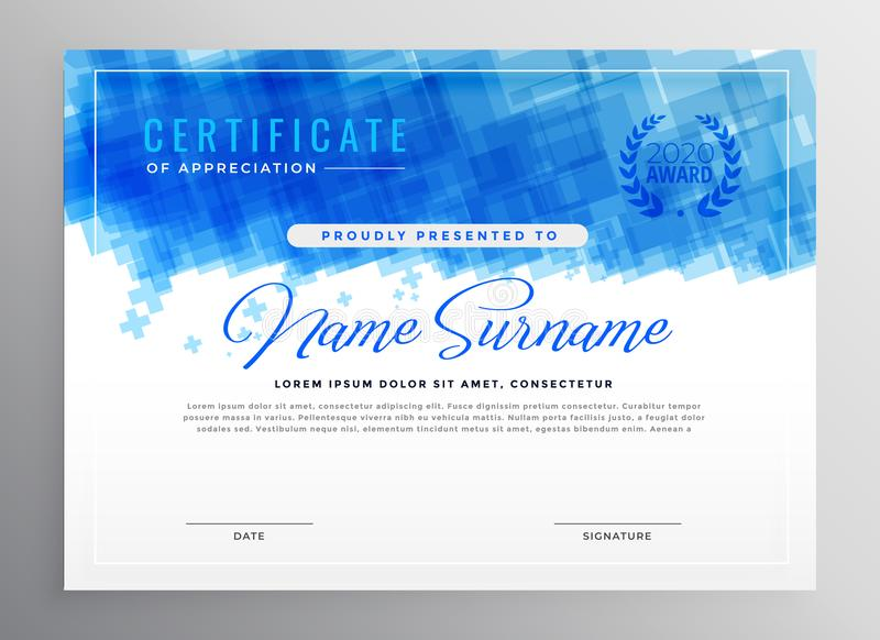 Conception bleue abstraite de certificat de diplôme illustration libre de droits