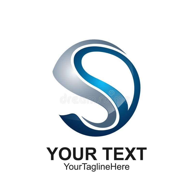 Conception bleue argentée de cercle colorée par calibre de conception de logo de la lettre S illustration libre de droits