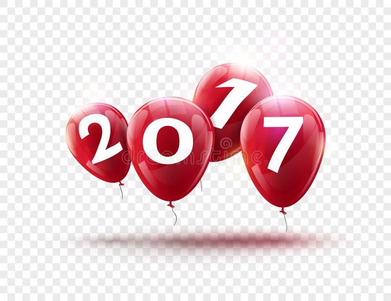 Conception bleue de ballons de la bonne année 2017 La carte de voeux avec le bleu monte en ballon la décoration de célébration su illustration de vecteur