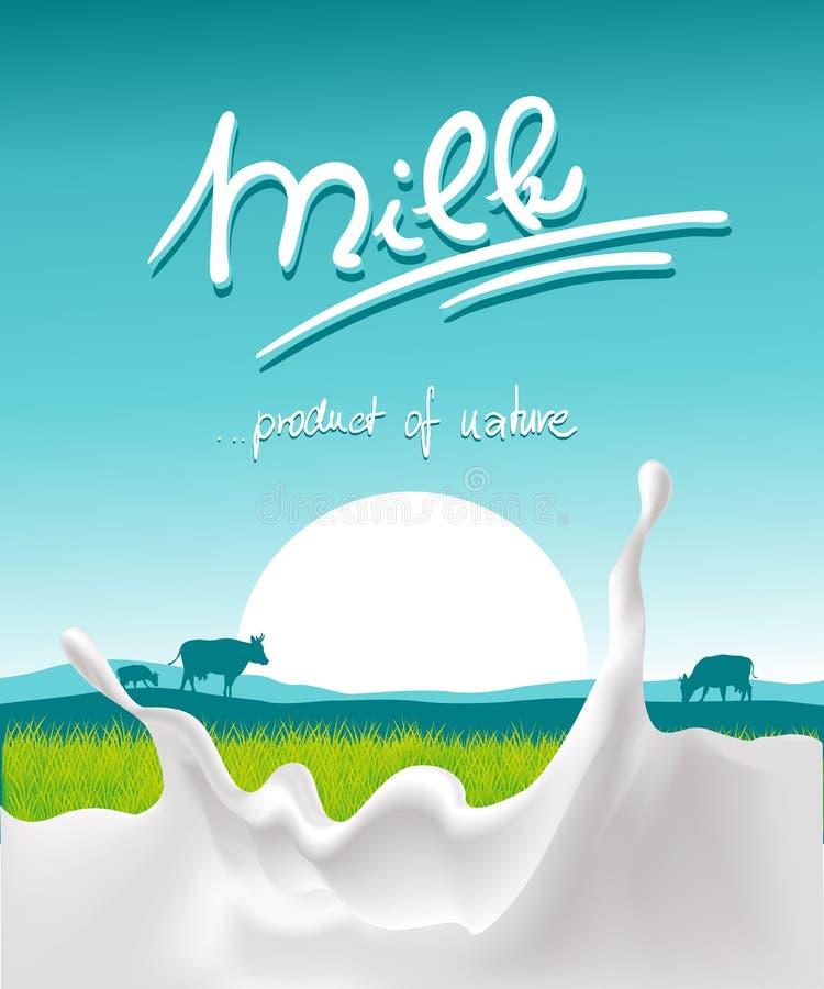 Conception bleue de lait avec l'éclaboussure de lait, l'animal de ferme et le coucher du soleil - vecteur illustration libre de droits