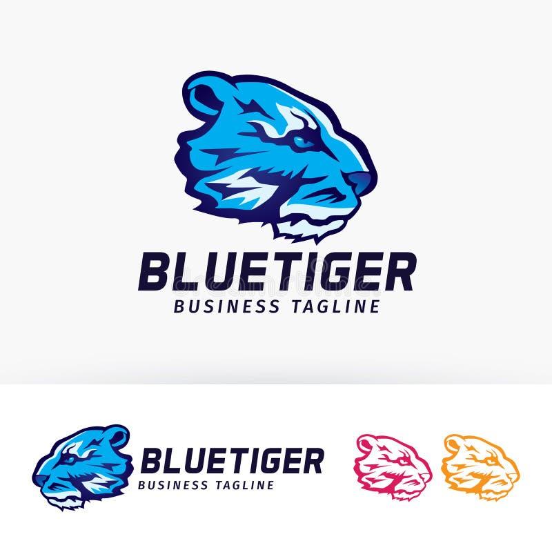 Conception bleue de logo de vecteur de tigre illustration libre de droits