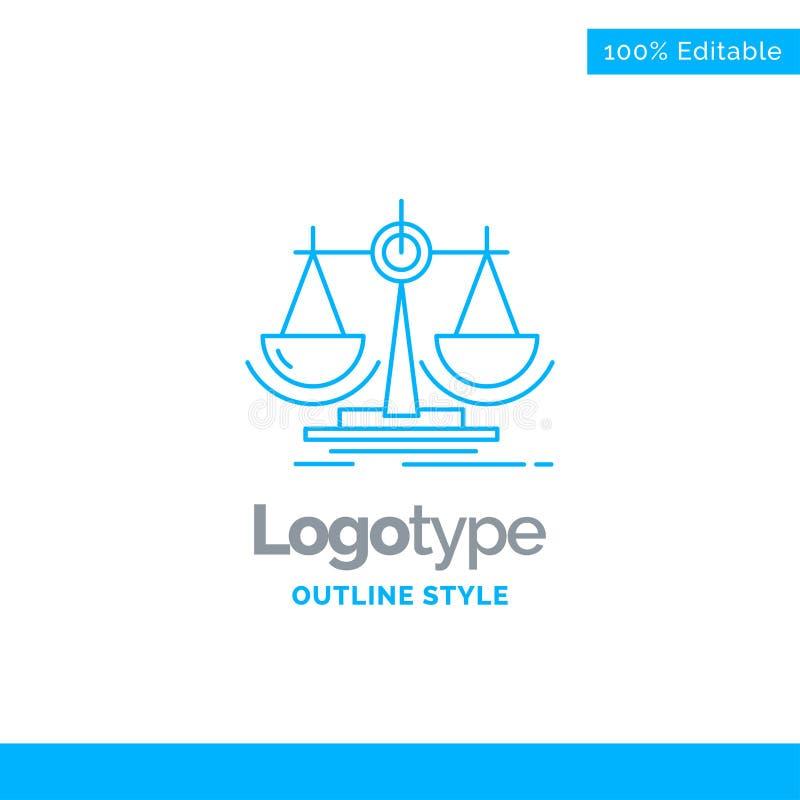 Conception bleue de logo pour l'équilibre, décision, justice, loi, échelle bus illustration libre de droits