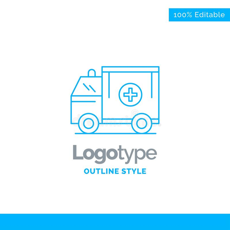 Conception bleue de logo pour l'ambulance, camion, médical, aide, fourgon Busin illustration libre de droits