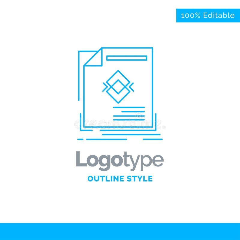 Conception bleue de logo pour l'annonce, publicité, tract, magazine, page illustration de vecteur