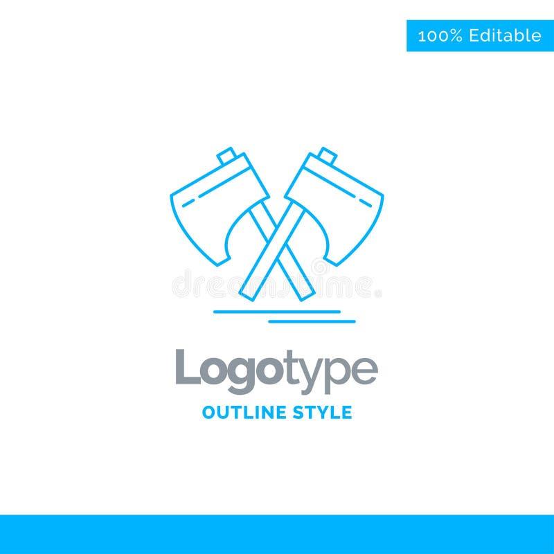 Conception bleue de logo pour la hache, cognée, outil, coupeur, Viking Business illustration libre de droits