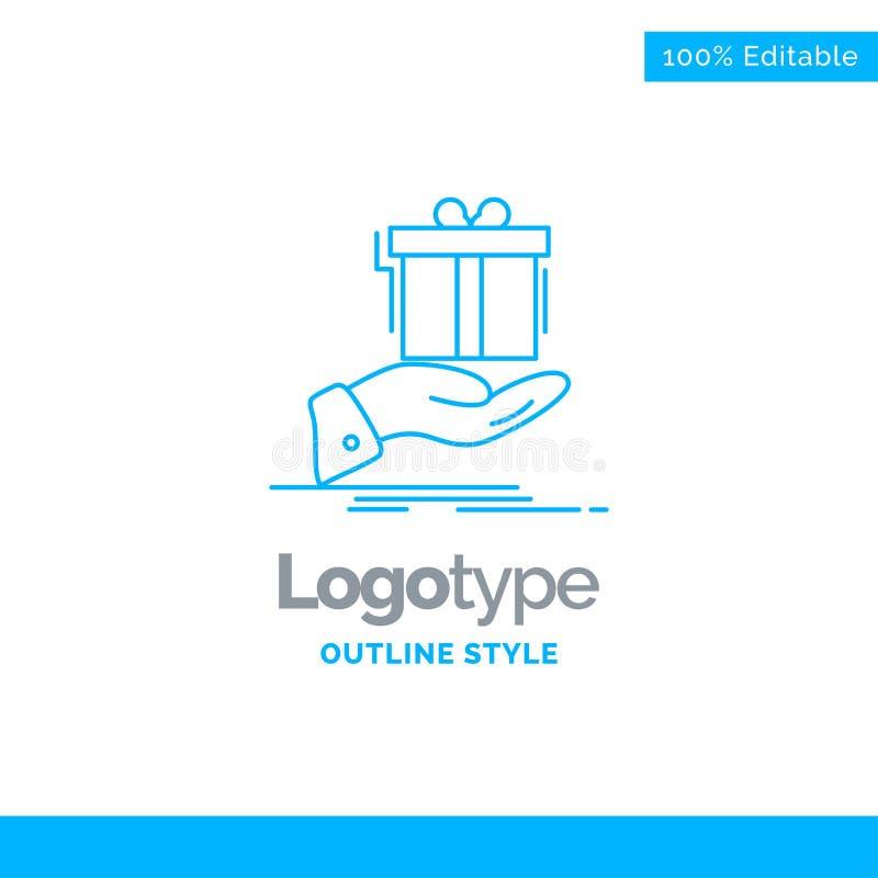 Conception bleue de logo pour le cadeau, surprise, solution, idée, anniversaire B illustration de vecteur