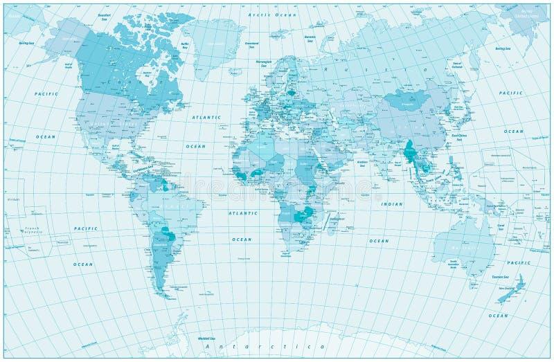 Conception bleue en pastel de carte du monde illustration libre de droits