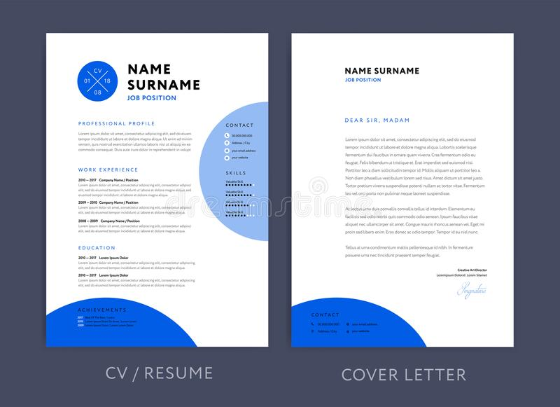 Conception bleue et en-tête de lettre/cov de cv de calibre professionnel de résumé illustration de vecteur