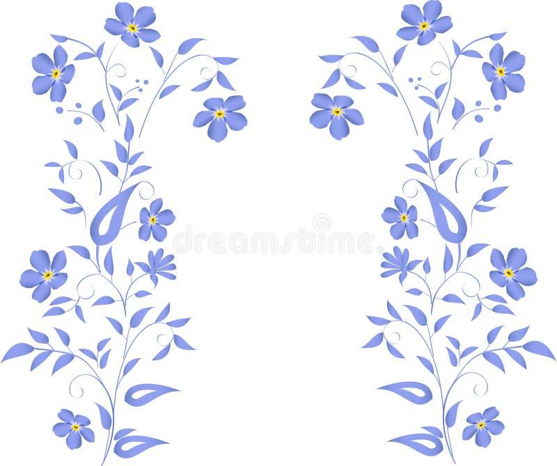Conception bleue simple de fleurs illustration libre de droits