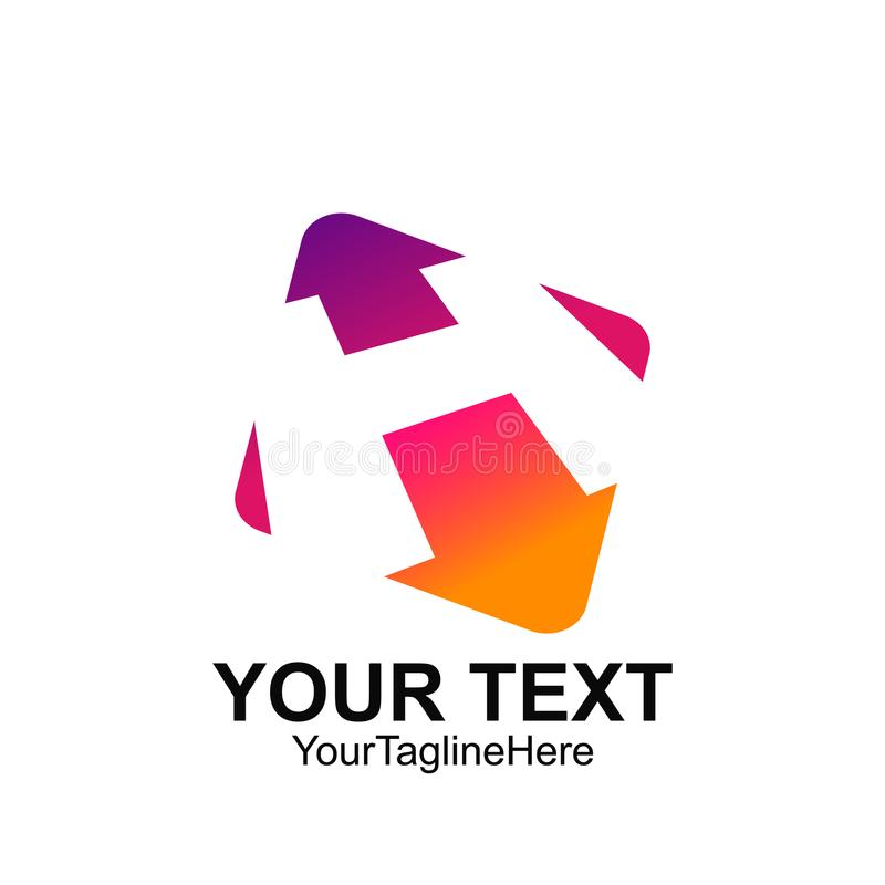 Conception carrée colorée de calibre de logo de la lettre initiale H pour le busine illustration stock