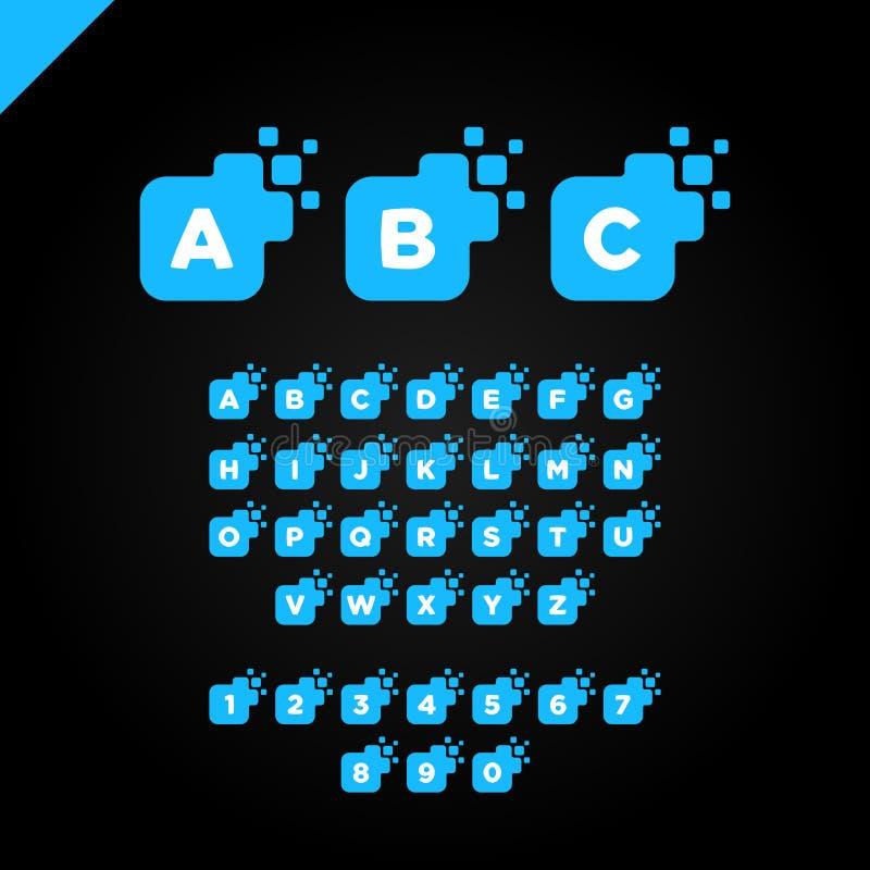 Conception carrée d'entreprise de logo de police de lettre d'affaires Calibre numérique coloré d'alphabet de lettre pour la techn illustration de vecteur