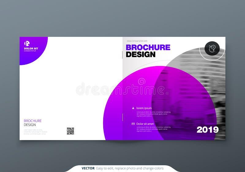 Conception carrée de brochure Brochure pourpre violette de calibre de rectangle d'entreprise constituée en société, rapport, cata illustration stock