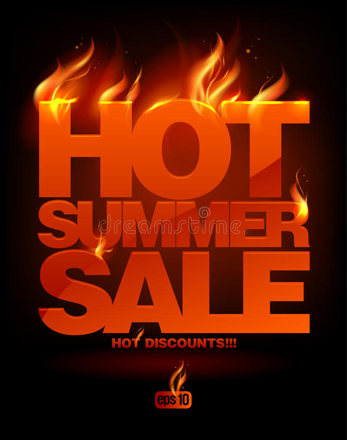 Conception chaude ardente de vente d'été. illustration de vecteur