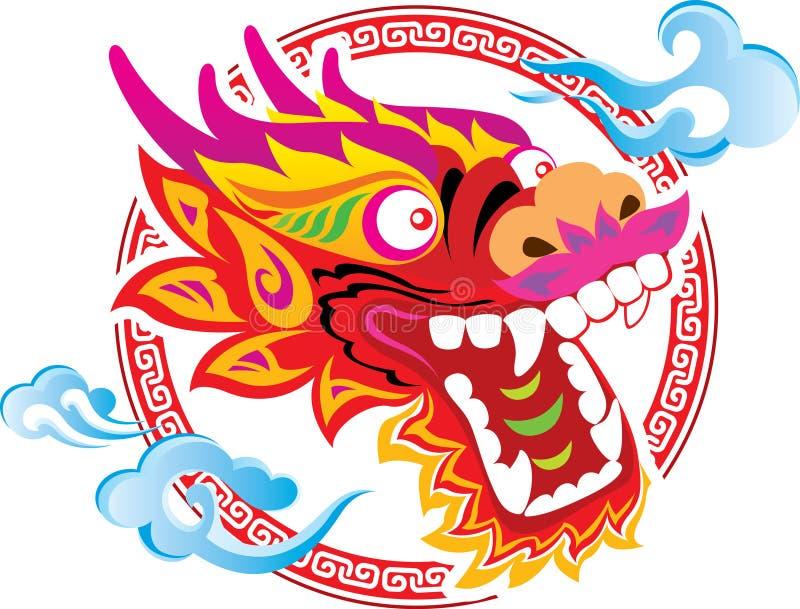 Conception chinoise d'art de tête de dragon de couleur illustration de vecteur