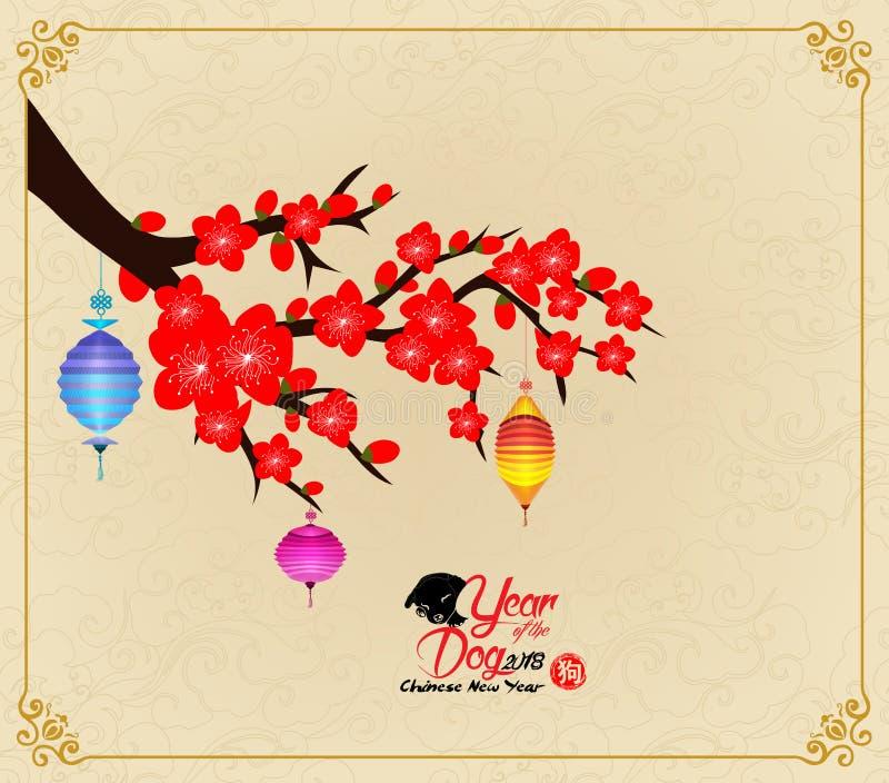 Conception chinoise d'an neuf Chien avec la fleur de prune à l'arrière-plan de chinois traditionnel hiéroglyphe : Chien illustration de vecteur