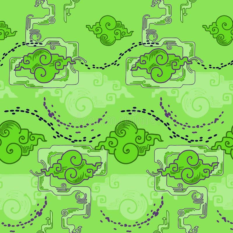 Conception chinoise de nuage avec le style de tour d'atout avec le modèle sans couture de ton vert-bleu étranger illustration stock