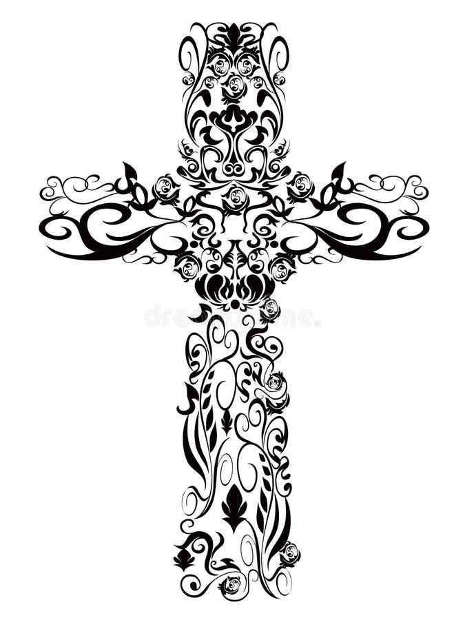 Conception chrétienne de décoration de croix de configuration illustration de vecteur