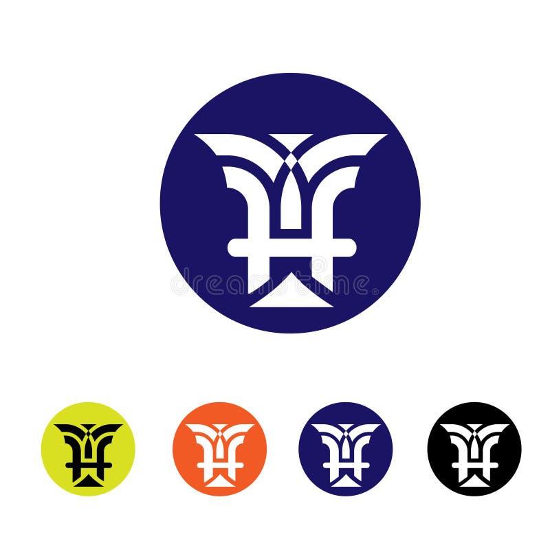 Conception classique de monogramme de style d'emblème de la lettre H illustration de vecteur