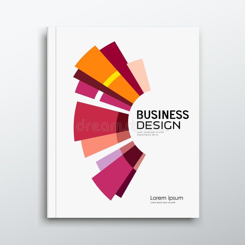 Conception colorée de bâtiment d'abrégé sur rapport annuel de livre d'affaires de couverture illustration de vecteur