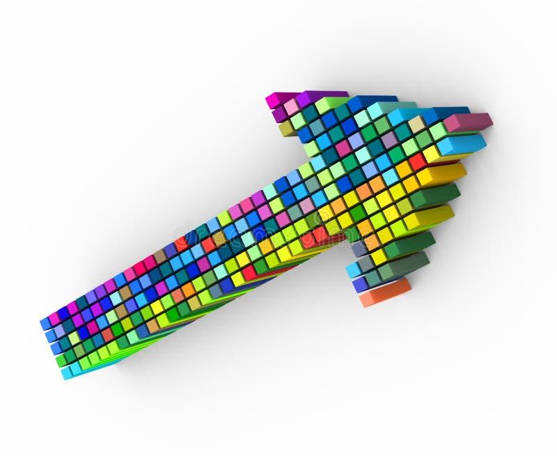 conception colorée de flèche de matrice des cubes 3d illustration libre de droits