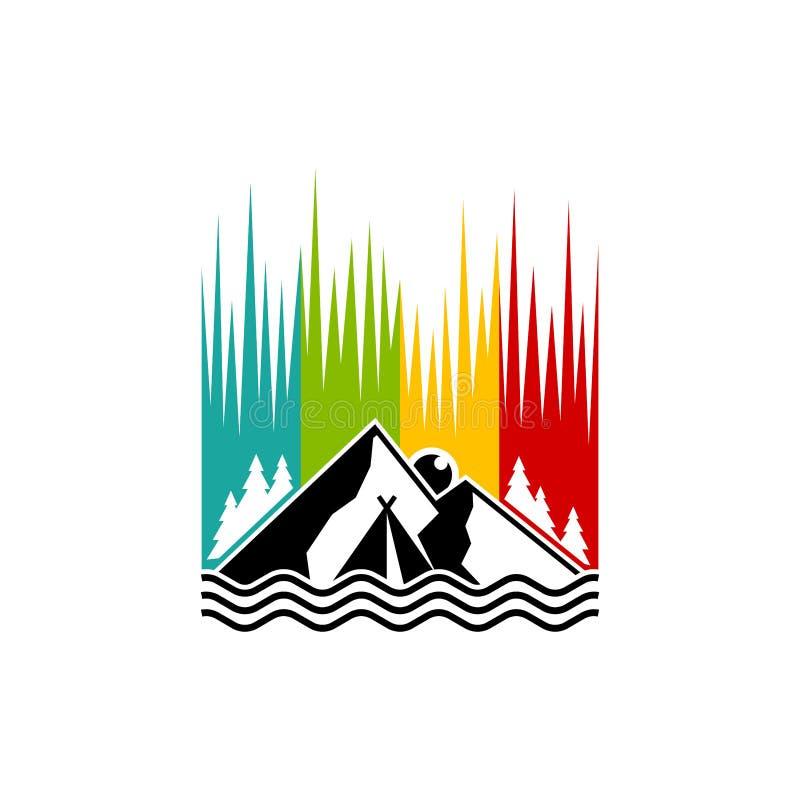 Conception colorée de logo de montagne, inspiration de conception de logo de camp illustration de vecteur