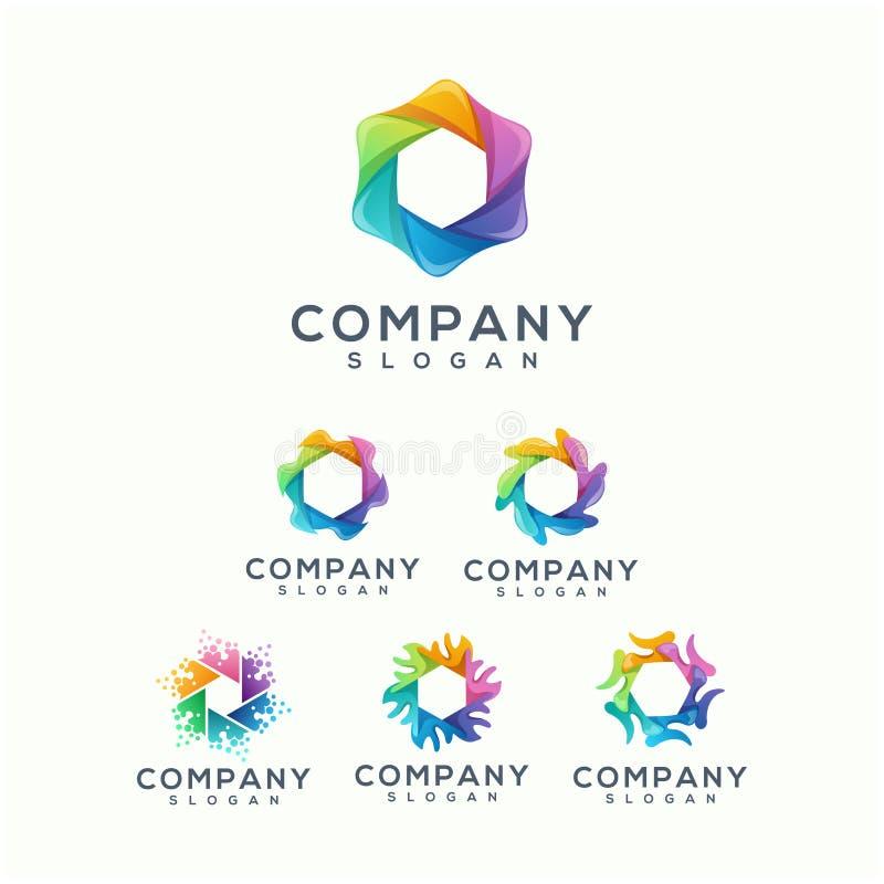 Conception colorée de logo de polygone prête à employer illustration libre de droits