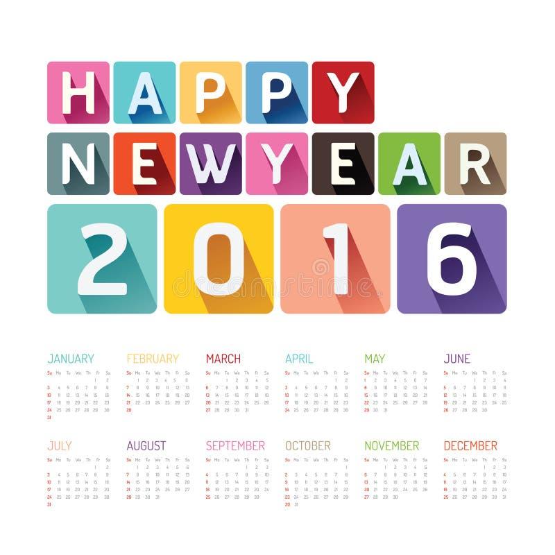 Conception colorée de vecteur de bonne année de 2016 calendriers illustration stock