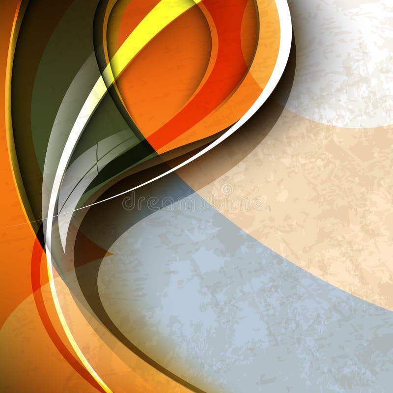 Conception colorée orange d'abrégé sur onde illustration de vecteur