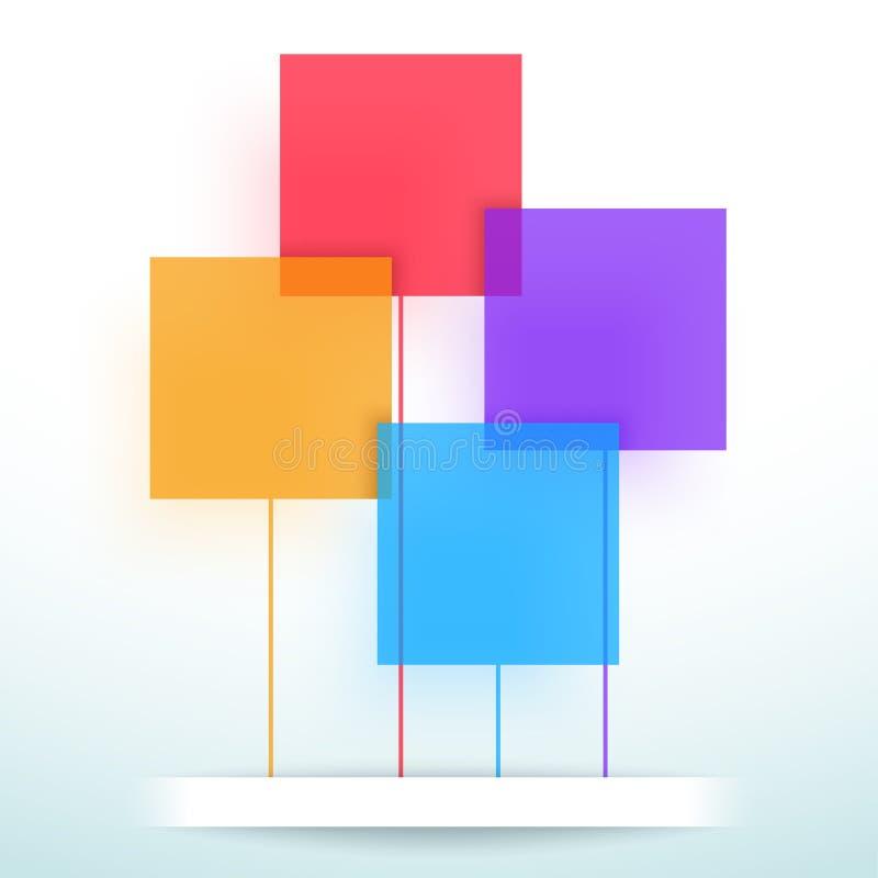 Conception colorée plate de disposition de cadres de boîte de vecteur abstrait illustration stock