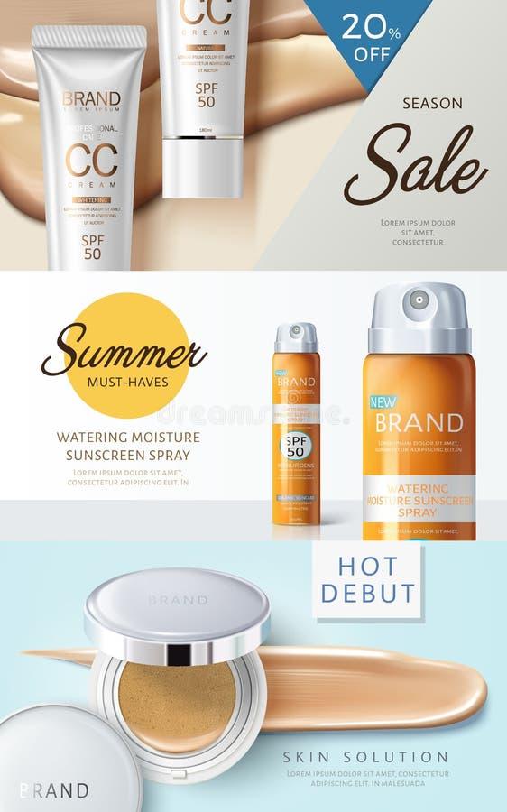 Conception cosmétique de bannière de Web illustration stock