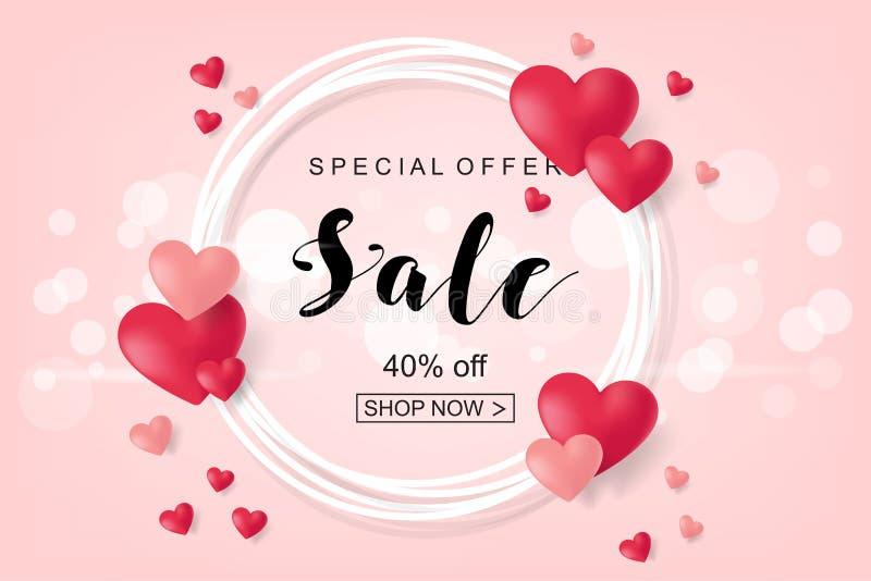 Conception créative d'affiche, de bannière ou d'insecte de vente Valentine heureux illustration stock
