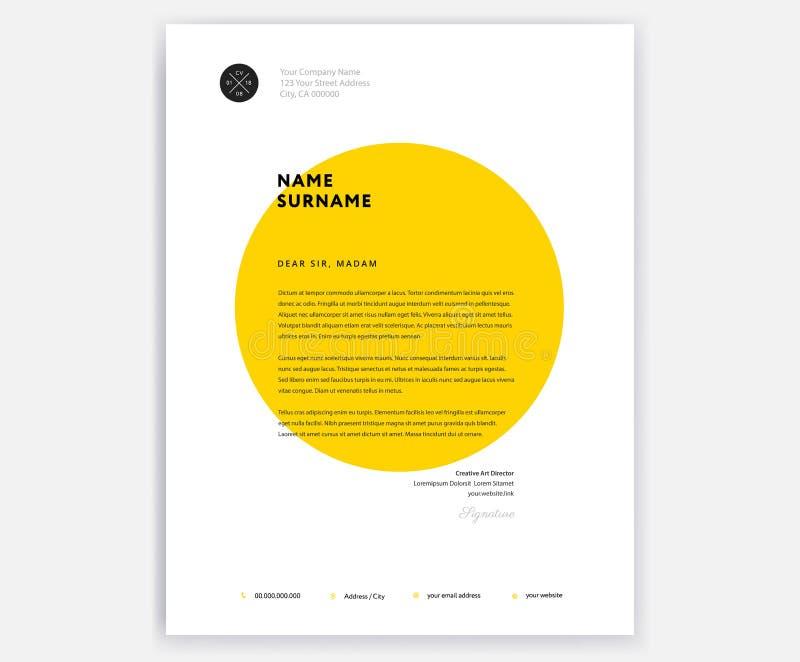 Conception créative de calibre d'en-tête de lettre - vecteur jaune de lettre d'accompagnement illustration libre de droits