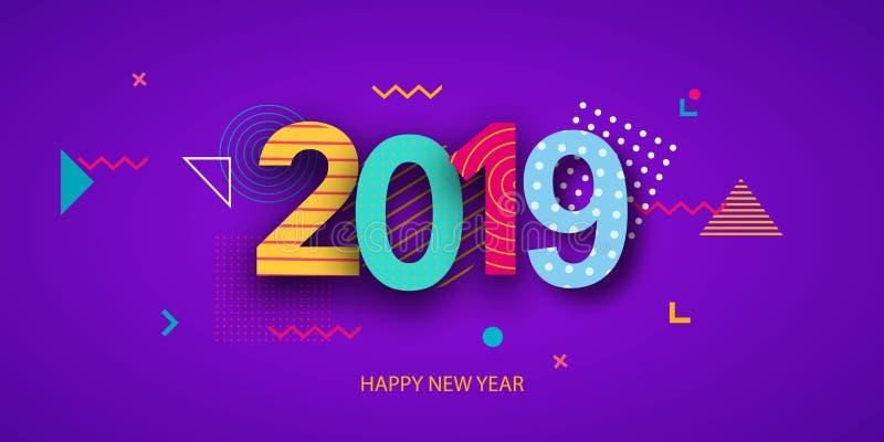 Conception créative de la carte du ` s de nouvelle année en 2018 sur un fond moderne illustration de vecteur