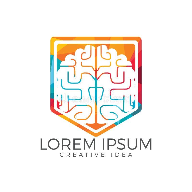 Conception créative de logo de bouclier de cerveau Pensez le concept d'idée illustration libre de droits