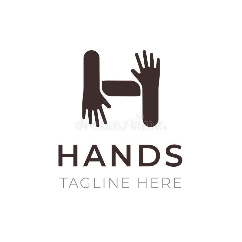 Conception créative de logo de lettre de H Remet le symbole de connexion La Communauté, coopération, famille et amitié Emblème à  illustration de vecteur