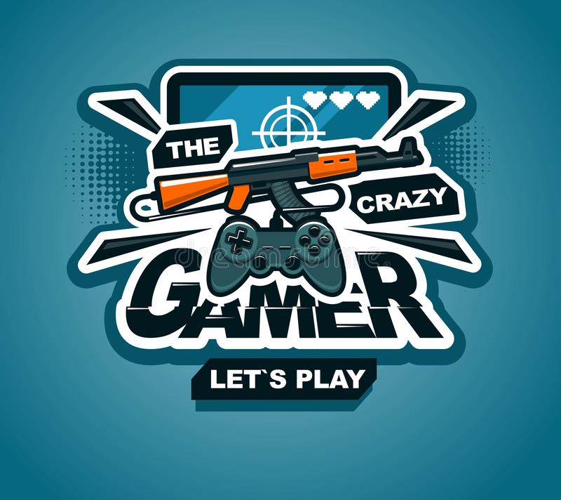 Conception créative fraîche d'illustration d'impression ou d'autocollant de logo de Gamer illustration de vecteur