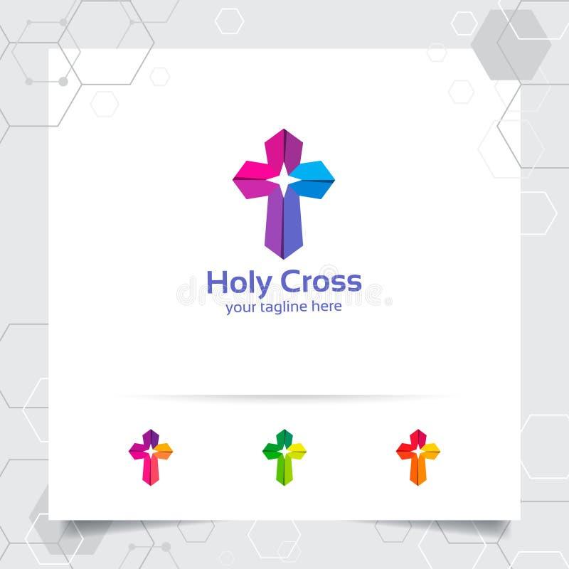 Conception croisée chrétienne de logo avec le concept du symbole religieux Icône croisée de vecteur pour l'église, baptême illustration de vecteur