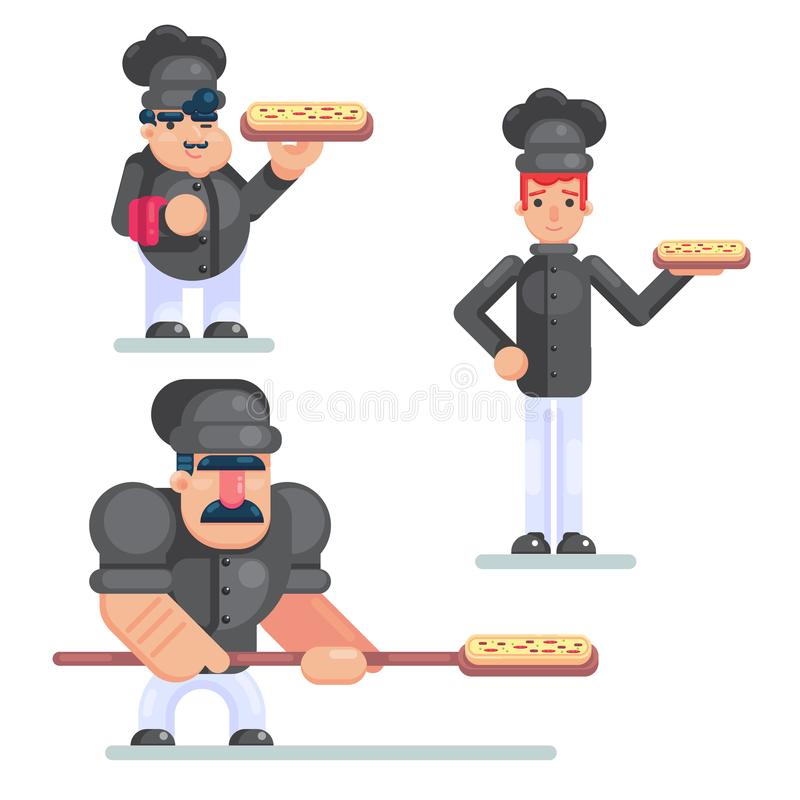 Conception culinaire et professionnels de cuisine dans l'uniforme Chef de sourire de restaurant avec des assistants d'isolement C illustration libre de droits