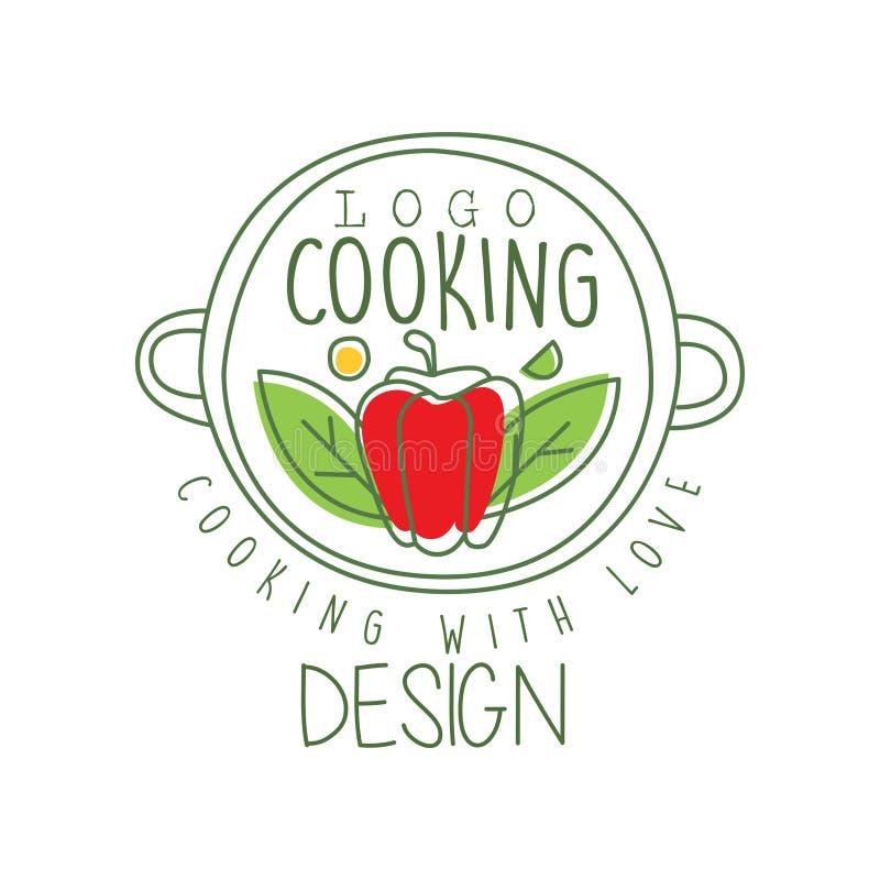 Conception culinaire tirée par la main de logo avec le poivre dans une casserole et cuisson avec le lettrage d'amour Ligne créati illustration de vecteur